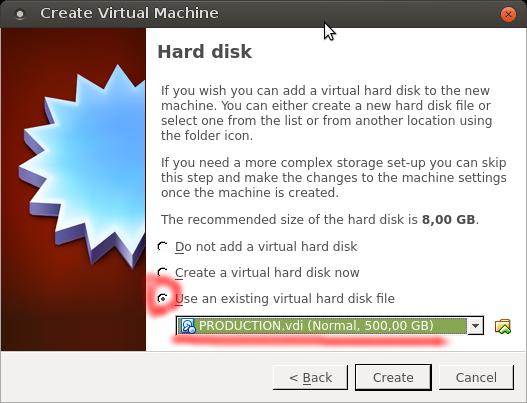 VirtualBox - Choose HD